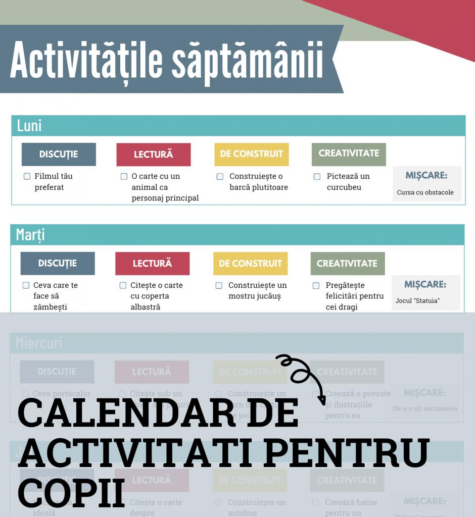 calendar de activitati pentru copii